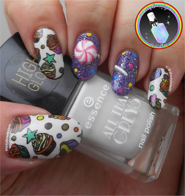 3D Lollipop and BPS water decals. nail art by Ithfifi Williams