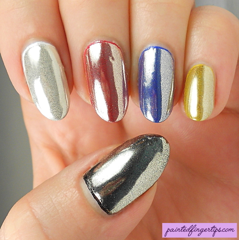 Chrome powder over different base colours nail art by ...