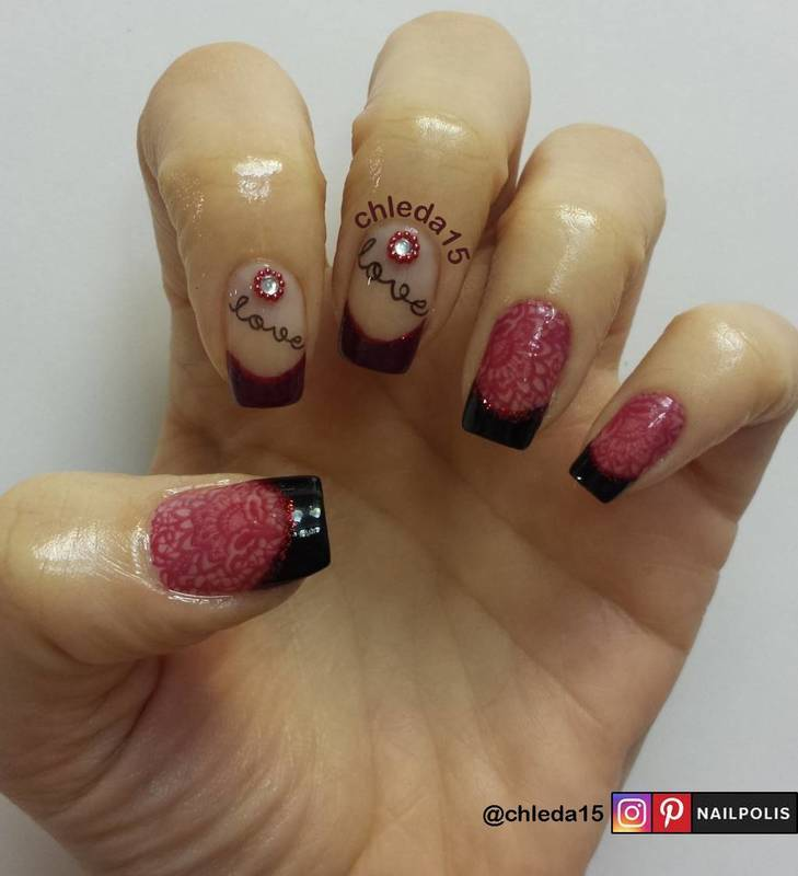 Love & Lace nail art by chleda15