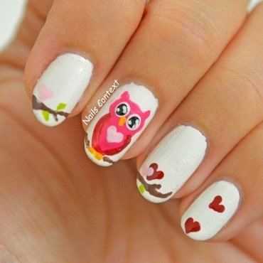 Owl Be Your Valentine nail art by NailsContext