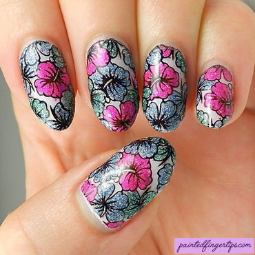 Glittery floral stamping decals nail art by Kerry_Fingertips
