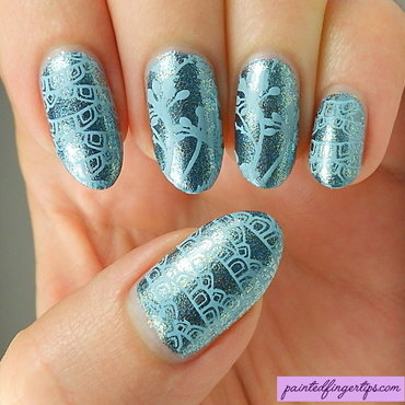 Delicate blue stamping nail art by Kerry_Fingertips