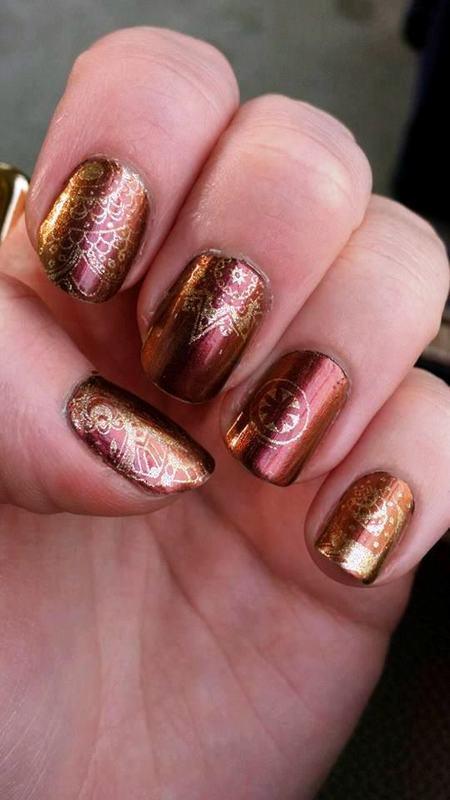 Metallic mandala nail art by Meggy