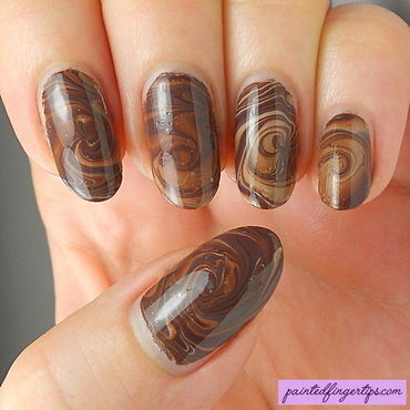 Milky coffee water marble nail art by Kerry_Fingertips