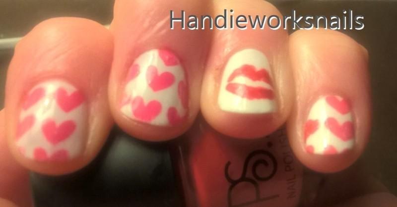 Love and Kisses nail art by Sazjay