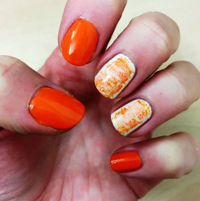 Mango and white nail art by Meggy