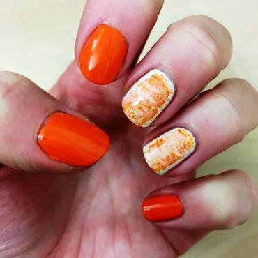 Mango and white nail art by Meggy