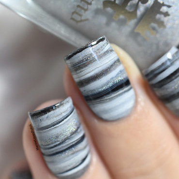 Fifty Shades of Grey dry marble nail art by Marine Loves Polish
