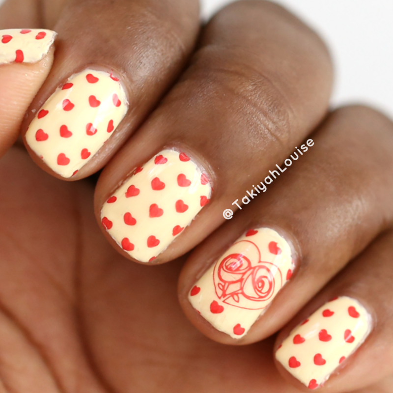 Mini Red Hearts Valentine's Nails nail art by TakiyahLouise