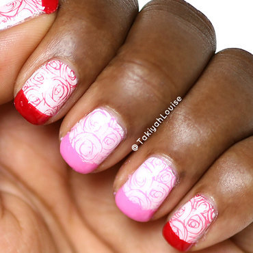 Rose French Tip Valentine's Nails nail art by TakiyahLouise