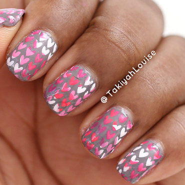 Pink Hearts Valentine's Nails nail art by TakiyahLouise