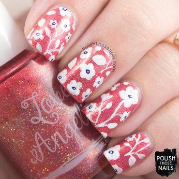 Love angeline 06.16 orange holo floral pattern nail art 3 thumb370f