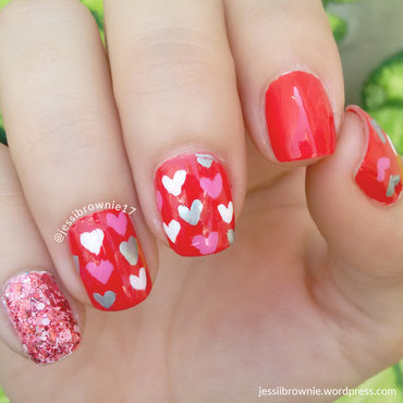 Lady of Hearts nail art by Jessi Brownie (Jessi)