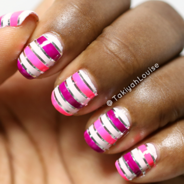 Neon Stripe Nails nail art by TakiyahLouise