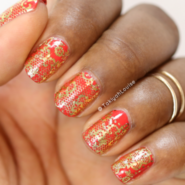 Red & Gold Nails nail art by TakiyahLouise