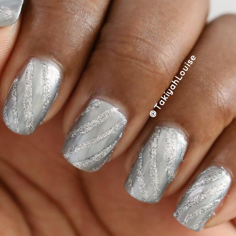 Monochromatic Silver Stripe Nails nail art by TakiyahLouise