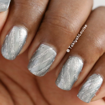 Monochromatic Silver Stripe Nails nail art by TakiyahLouise