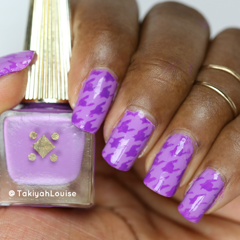 Purple Houndstooth Nails nail art by TakiyahLouise