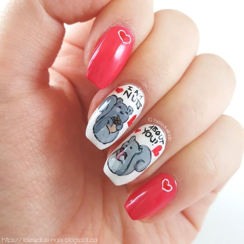 Punny Squirrel Nails nail art by Shirley X.