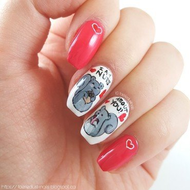 Punny Squirrel Nails nail art by Shirley X.