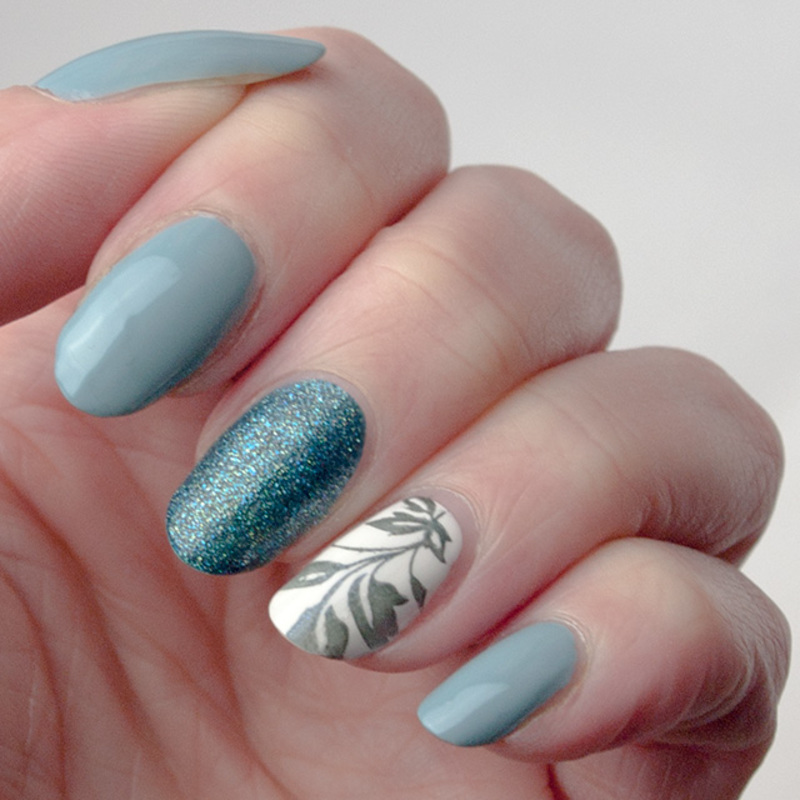 Teal and textured manicure nail art by What's on my nails today?