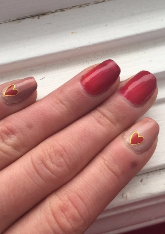 Valentine Day Hearts nail art by Monica