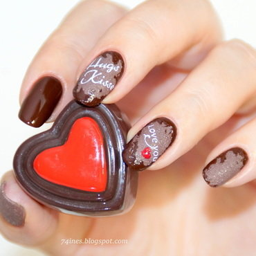 Love have a taste of chocolate Part.4 nail art by 74ines