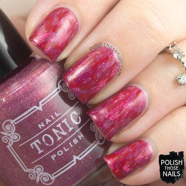 Pink distressed red ikat pattern nail art 4 thumb370f