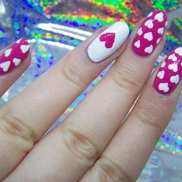 Hearts nail art by Lucy