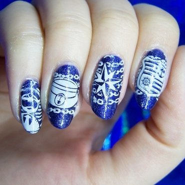 Nautical nail art by Lucy