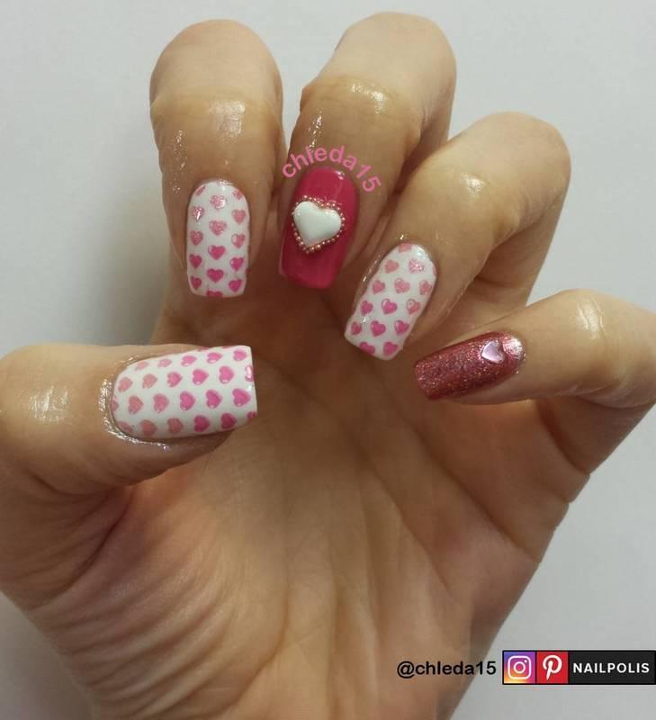 Hearty Hearts nail art by chleda15