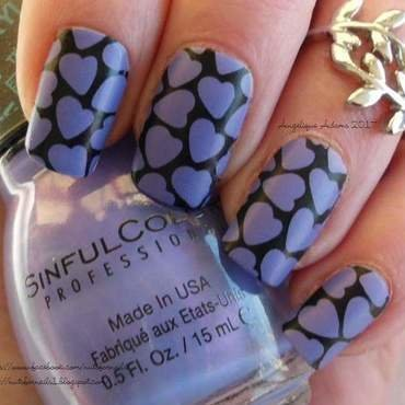 Purple Hearts nail art by Angelique Adams