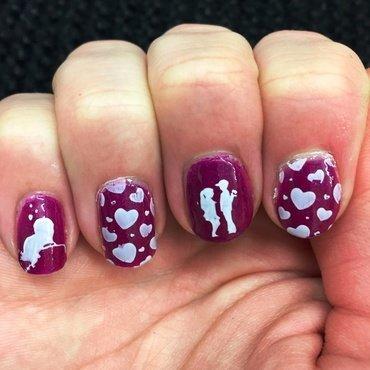 Purple Valentine nail art by Meggy