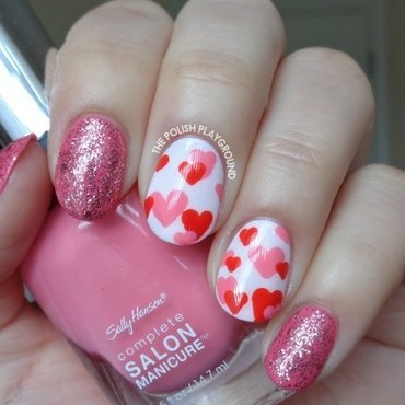 Red and Pink Hearts Nail Art nail art by Lisa N