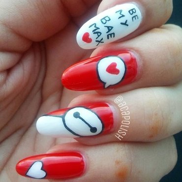 Baymax Valentines Day Nails  nail art by Diana Joanes