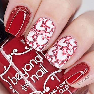 Valentine's Day Stamped Hearts nail art by Maddy S