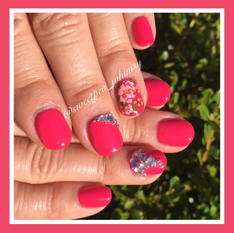 🌸 Peonies on Hot Pink nail art by SweetPea_Whimsy