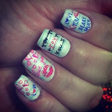 Love Letters nail art by Aurea Castro