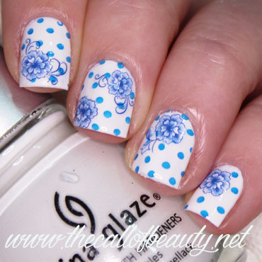 Blue Floral nail art by The Call of Beauty