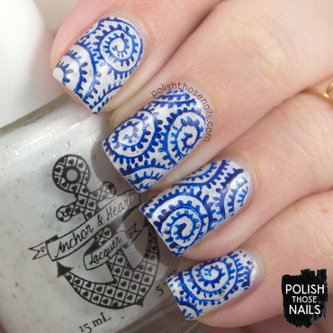 White silver flakies blue swirl pattern nail art 4 thumb370f