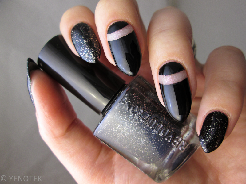 black with negative space and silver glitter nail art by Yenotek