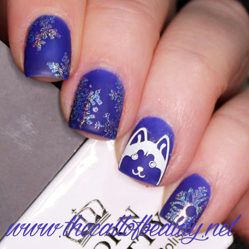 Holo Snowflakes and a Husky nail art by The Call of Beauty