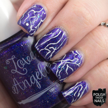 Love angeline purple flakie glitter white line nail art 3 thumb370f