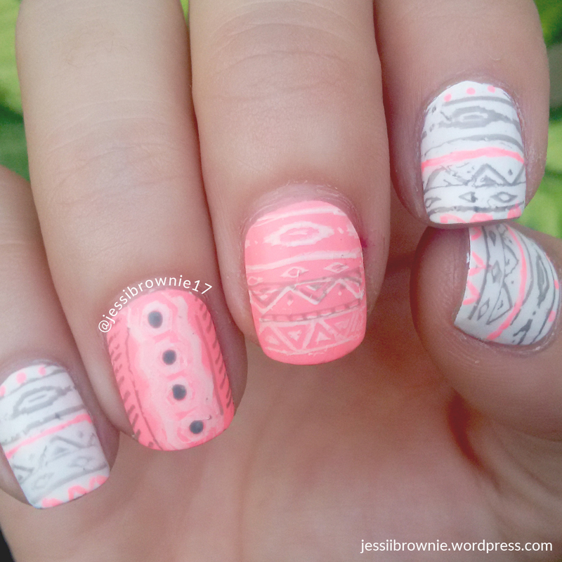 Neon Tribal Stamping nail art by Jessi Brownie (Jessi)