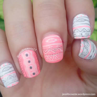 Neon Tribal Stamping nail art by Jessi Brownie (Jessi)