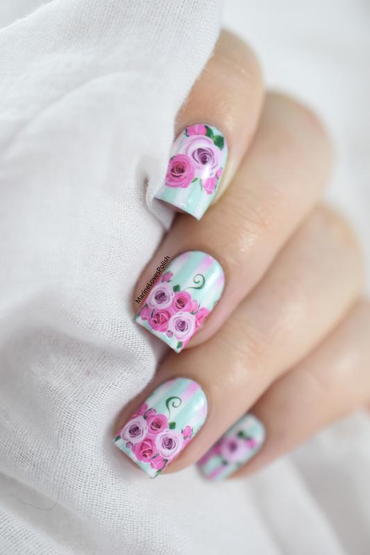 Hearts & flowers nail art by Marine Loves Polish