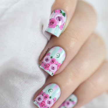 Hearts & flowers nail art by Marine Loves Polish