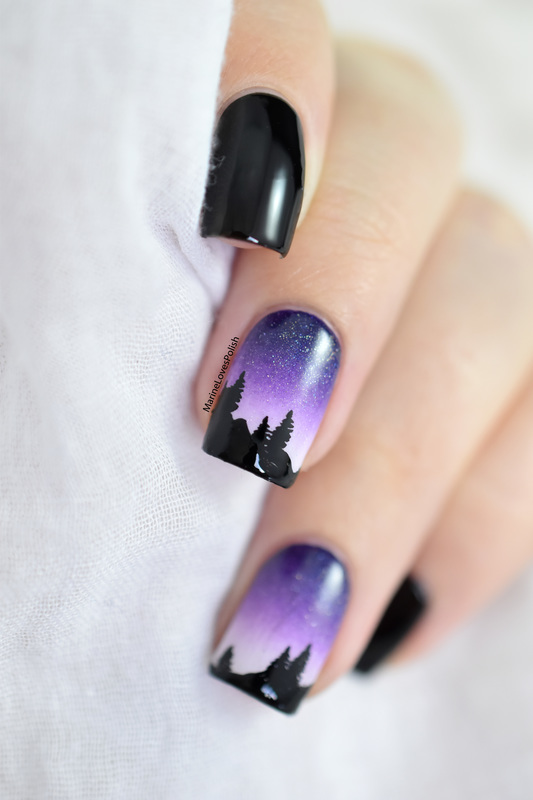 Mountain landcsape  nail art by Marine Loves Polish