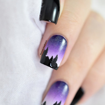 Night mountain landscape nail art tutorial 20 1  thumb370f