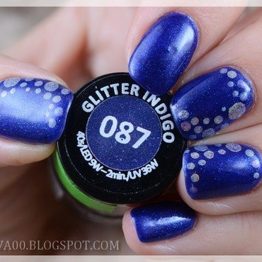 Glitter Indigo nail art by Jadwiga